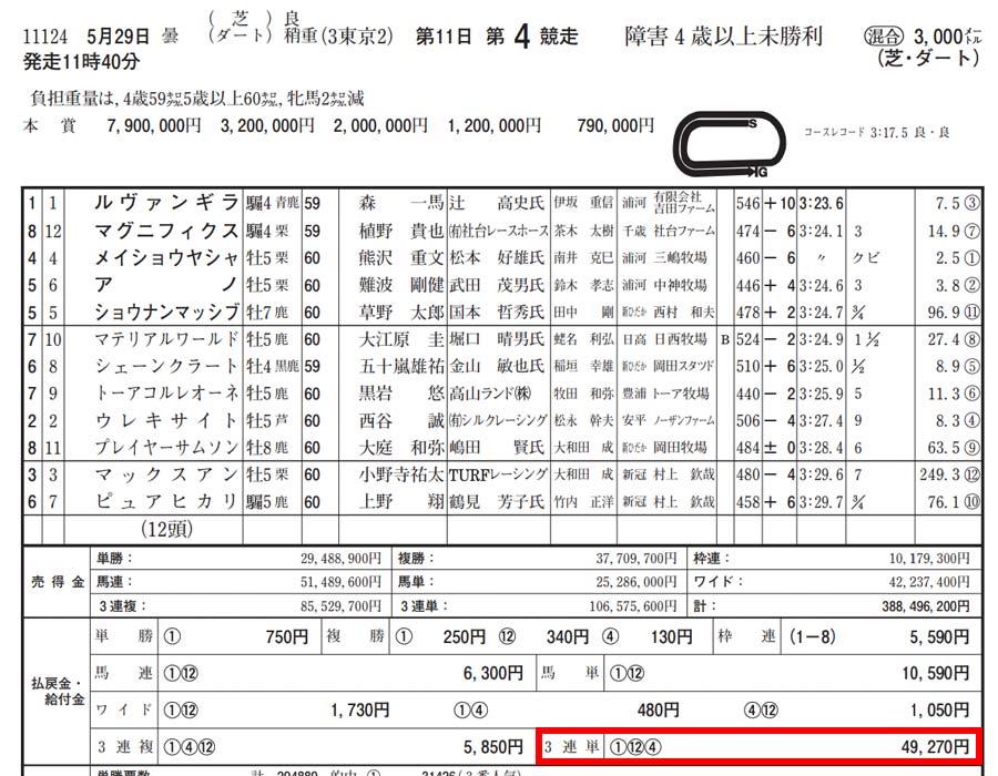 2021年5月29日 東京4レース結果